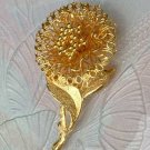 Intricate Filigree Pin Bright Goldtone Figural Floral Jewelry