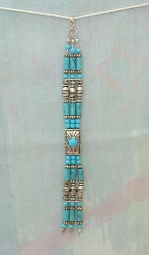 Faux Turquoise Triple Strand Zipper Pull or Necklace Pendant