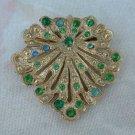 Vintage Shield Brooch Emerald Green Rhinestones Pin Jewelry