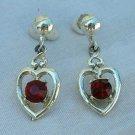 Red Ruby Rhinestone Heart Dangle Earrings Screw Style Jewelry