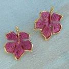 Fuchsia Enameled Leaf Earrings Clip Style