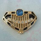 Ornate Shield Brooch Blue Clear Rhinestones Crown Fraternity Jewelry