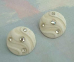 1950s White Molded Thermoset Button Earrings Rhinestones Vintage Jewelry