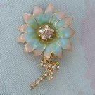 Enamel Floral Pin Pink Green AB Rhinestones Brooch Jewelry