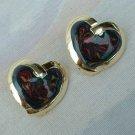 Swirled Polychrome Enamel Heart Earrings Sweetheart Jewelry