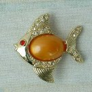 Peach Jelly Belly Fish Pin Brooch Rhinestones Jewelry