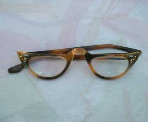 Retro Faux Tortoise Shell Reader Eye Glasses AB Rhinestones Stars Vintage