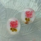 Reverse Carved Lucite Pink Roses Screw Vintage Earrings