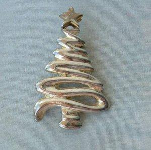 Christmas Tree Brooch Pin Silvertone Star Holiday Jewelry