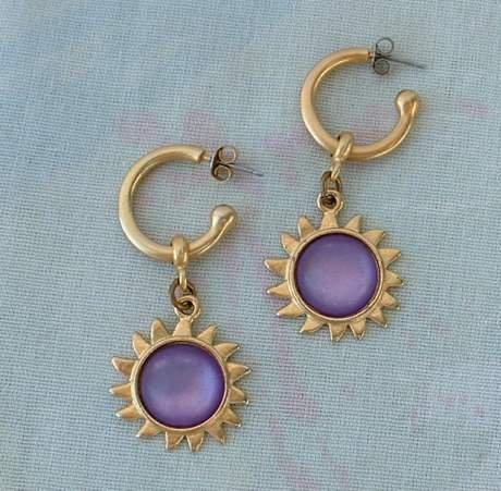 Purple Cabochon Sun Dangle Earrings Matt Goldtone Jewelry