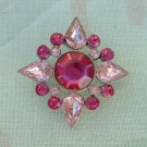 Dark and Light Pink Geometric Pin Brooch Pear Shaped stones