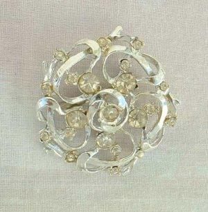 Vintage Openwork Rhinestone Brooch Pin Large Snowflake Design Jewelry
