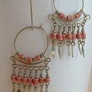 Pink Ceramic Bead Dangle Earrings Wire Hoops Spring Summer Jewelry