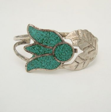 Mexican Alpaca Tulip Cuff Bracelet Turquoise Vintage Jewelry