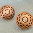 Copper Indian Style Round Screw Earrings Vintage Jewelry