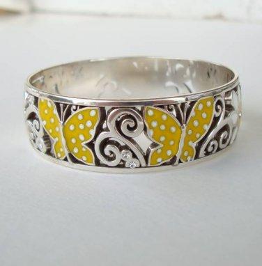 Brighton Sunny Wings Enamel Bangle Bracelet Figural Jewelry