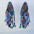 Colorful OOAK Dangle Earrings Teal Blue Green Purple Vintage Jewelry