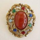 Faux Gemstone Brooch Seed Pearls Openwork Carnelian Lapis Vintage Jewelry