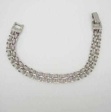 Double Strand Chain Link Bracelet Textured Silvertone Vintage Jewelry