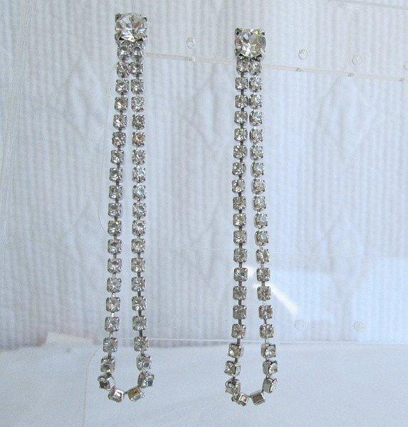Long Rhinestone Dangle Earrings Post Style Sparkling Jewelry