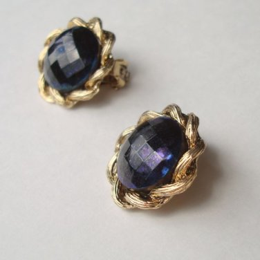 Cobalt Blue Faceted Glass Clip On Earrings AB Finish Vintage Jewelry