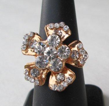 Dogwood-Shaped Rhinestone Cocktail Ring Adjustable Rose-Gold Washed