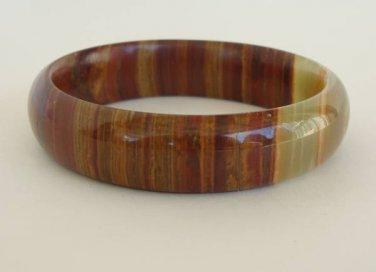 Agate Bangle Bracelet Smaller Wrist Brown Green Gemstone Jewelry