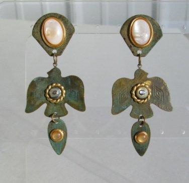 Oxidized Brass Indian Eagle Thunderbird Dangle Earrings MOP Vintage Figural Jewelry