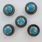 5 Vintage Teal Brass Button Covers Blue Brown Cabs w Gold Flakes