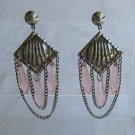 Retro Chandeliar Dangle Earrings Pink Pendulum Drops Vintage Jewelry