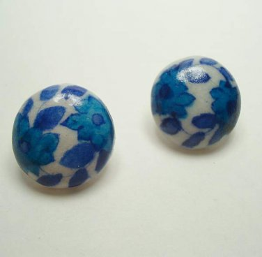 Blue Hand Painted Porcelain Dome Earrings Floral Ceramic Vintage Jewelry