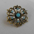 Small Atomic Pin Turquoise Pearl Seed Beads Elegant Brooch Vintage Jewelry