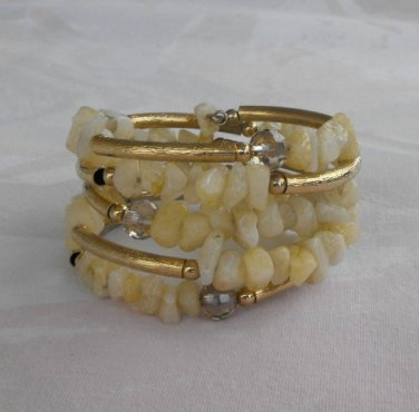 Snow Quartz or Marble Wrap Bracelet w Goldtone Embossed Tubes Jewelry