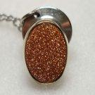 Aventurine Feldspar Sunstone Tie Tac Lapel Pin Safety Gemstone Jewelry