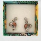 Dakota West Kokopelli Sterling Silver Post Earrings Original Box Figural Jewelry