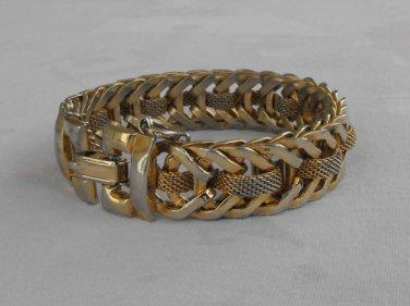 Herringbone Mesh Center Bracelet Safety Chain Vintage Jewelry
