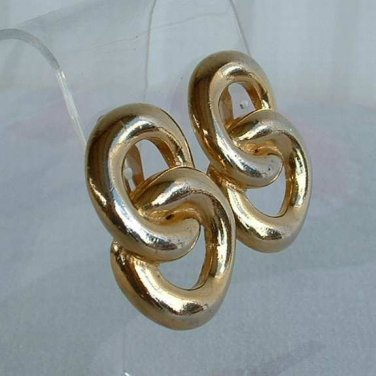 Givenchy Figure 8 Infinity Earrings Clip On Goldtone Vintage Jewelry