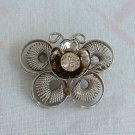 Modernist Butterfly Brooch Coils Sparkling Rhinestone Vintage Figural Jewelry