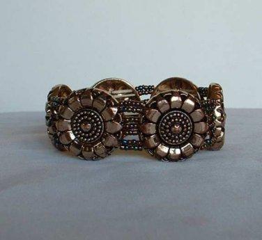 Bronzed Sunflower Bracelet Seed Beads Heavy Expansion Bracelet Vintage Jewelry