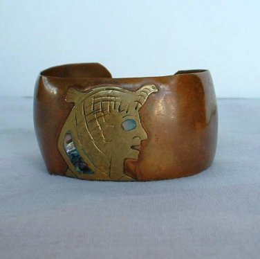 Mexican Copper Wide Cuff Bracelet Aztec Abalone Accents Vintage Jewelry