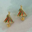 Red Green Christmas Tree Earrings Enamel Post Style Christmas Holiday Jewelry