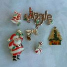 Lot of 6 Enameled Christmas Pins Jingle Santa Bells Tree Bells Vintage Holiday Jewelry