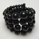 Black Memory Coil Expansion Bracelet 4 Rows Graduated Beads Jewelry