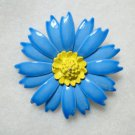 Blue Yellow Enamel Flower Pin Vintage Tin Floral Jewelry