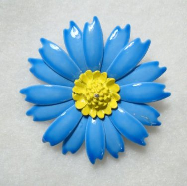 Blue Yellow Enamel Flower Pin Vintage Tin Floral Jewelry