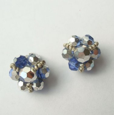 Blue Silver Hematite-Like Cluster Clip On Earrings AB Vintage Jewelry