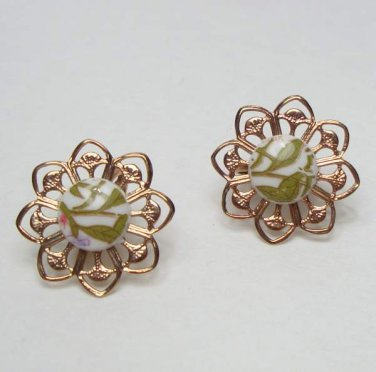 Olive Green White Porcelain Clip On Earrings Vintage Jewelry