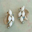 Aqua Blue AB Rhinestones White Navettes Leaf Clip Earrings Vintage Jewelry