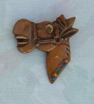 Elzac Style Laughing Horse Brooch Rhinestones Bakelite Maybe c1935 Vintage Jewelry
