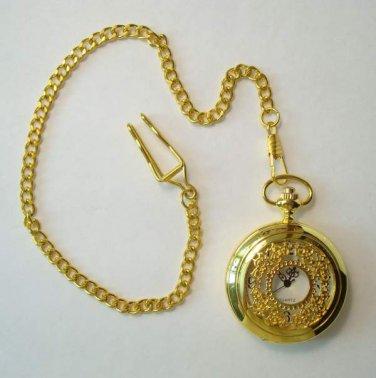 Quartz Pocket Watch with Curb Link Watch Chain